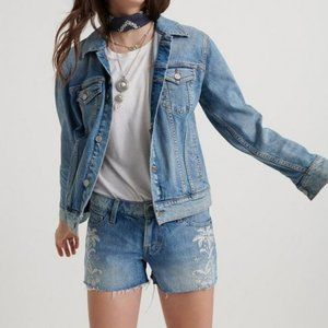 Lucky Brand The Cut Off Embroidered Jean Shorts